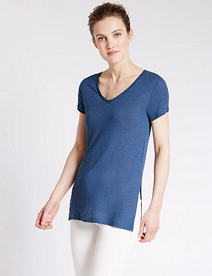 Swing Fit Tunic with Linen, DENIM, catlanding