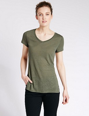 Swing Fit Tunic with Linen, KHAKI, catlanding