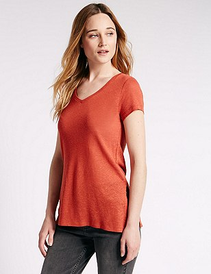 Swing Fit Tunic with Linen, RUST, catlanding