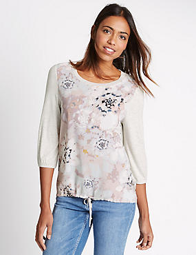 Floral Print 3/4 Sleeve Jersey Top, LIGHT PINK MIX, catlanding