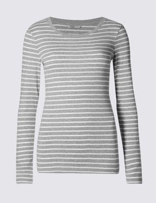 Облегающая футболка из чистого хлопка в полоску M&S Collection T418122J