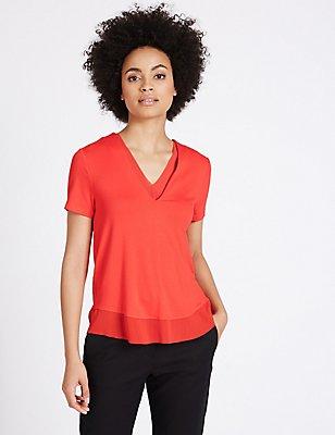 Woven Trim Neckline Short Sleeve Jersey Top, , catlanding