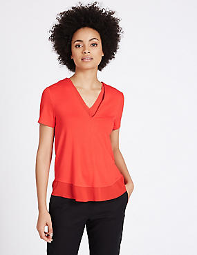 Lace Neckline Short Sleeve Jersey Top, ORANGE, catlanding