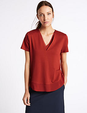 Woven Trim Neckline Short Sleeve Jersey Top, SIENNA, catlanding