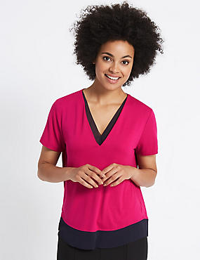 V-Neck Short Sleeve Blouse, BRIGHT PINK, catlanding