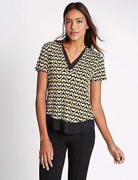 Chevron Print Short Sleeve Jersey Top, YELLOW MIX, catlanding