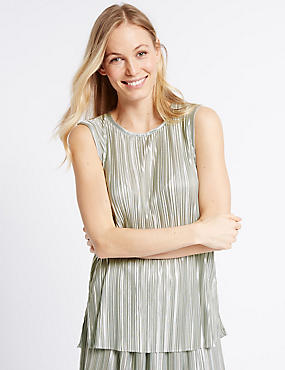 Pleated Round Neck Sleeveless Shell Top, SILVER MIX, catlanding