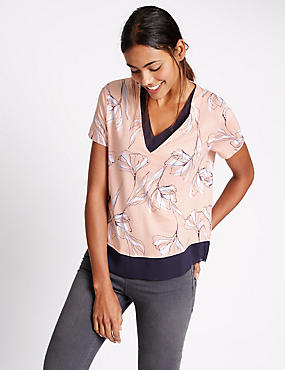 Floral Print V-Neck Jersey Top, PINK MIX, catlanding