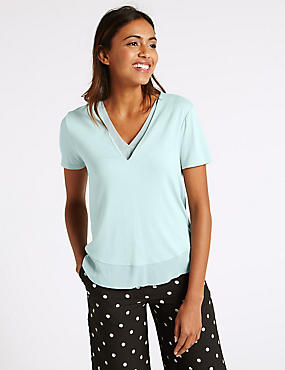 Double Layered Short Sleeve T-Shirt, BLUE MIX, catlanding