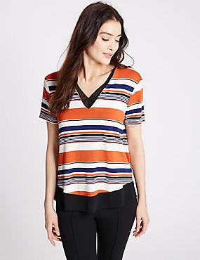 Striped V-Neck Short Sleeve Jersey Top, ORANGE MIX, catlanding