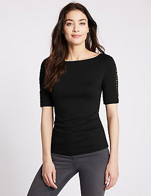 Lattice Trim Half Sleeve Jersey Top, BLACK, catlanding