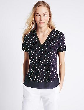 Printed V-Neck Short Sleeve Jersey Top, NAVY MIX, catlanding