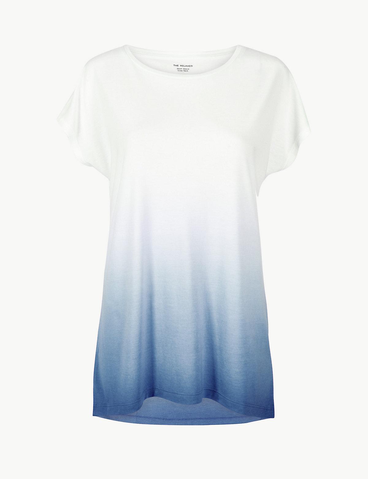 Длинная женская футболка с эффектом Dip Dye