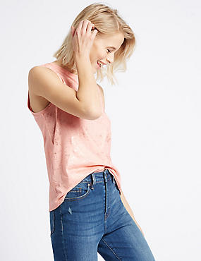 Cotton Blend Foil Sleeveless Vest, PALE PINK, catlanding