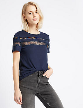Lace Trim Round Neck Short Sleeve T-Shirt, NAVY, catlanding