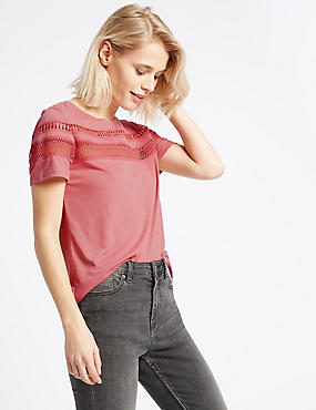 Lace Trim Round Neck Short Sleeve T-Shirt, ROSE, catlanding