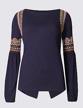 Slash Neck Long Sleeve Jersey Top, NAVY MIX, catlanding