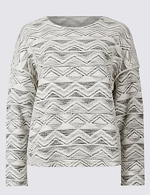 Cotton Rich Textured Long Sleeve Jersey Top, IVORY MIX, catlanding
