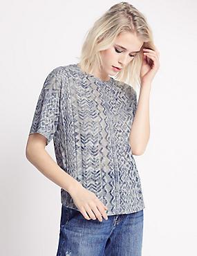 Aztec Print Short Sleeve Jersey Top, NAVY MIX, catlanding