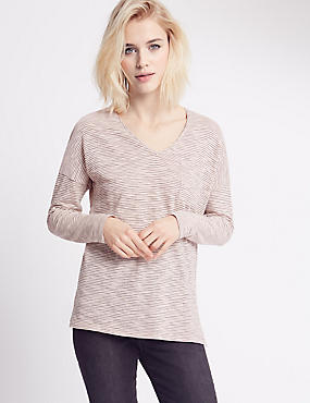 Striped V-Neck Long Sleeve Jersey Top, BLUSH, catlanding