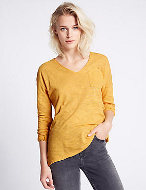 Striped V-Neck Long Sleeve Jersey Top, OCHRE, catlanding