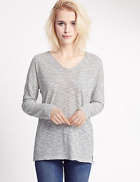 Striped V-Neck Long Sleeve Jersey Top, IVORY MIX, catlanding
