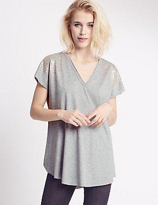 Foil Print V-Neck Jersey Top, , catlanding