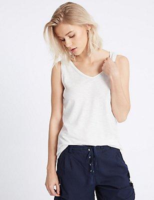 Cotton Rich Beaded Neck Sleeveless Vest, SOFT WHITE, catlanding