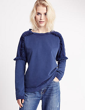 Pure Cotton Embroidered Shoulder Jersey Top, NAVY, catlanding