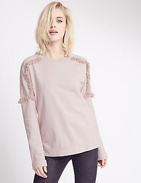 Pure Cotton Embroidered Shoulder Jersey Top, PALE PINK, catlanding