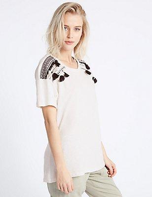 Pure Cotton Tassel Dipped Hem T-Shirt, BLACK MIX, catlanding