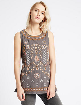Pure Cotton Embroidered Jersey Top, CHARCOAL MIX, catlanding