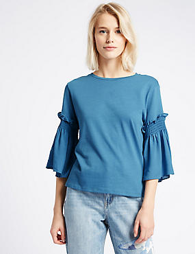 Pure Cotton Smock Sleeve Round Neck T-Shirt, BLUE, catlanding