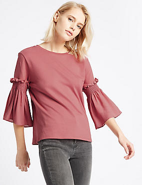 Pure Cotton Smock Sleeve Round Neck T-Shirt, PALE PINK, catlanding