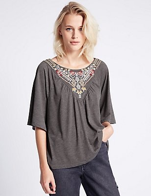 Embroidered Half Sleeve Jersey Top, GREY MIX, catlanding