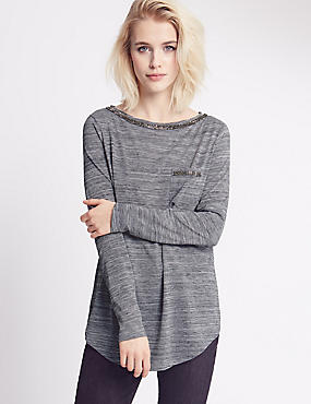 Slash Neck Long Sleeve Jersey Top, CHARCOAL, catlanding