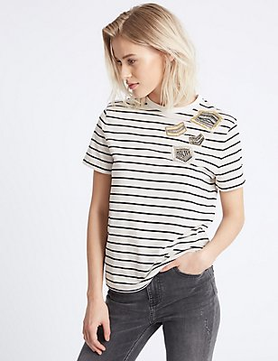 Cotton Rich Striped Short Sleeve T-Shirt, BLACK MIX, catlanding