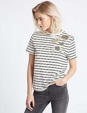 Cotton Rich Striped Short Sleeve T-Shirt, BLACK MIX, catlanding