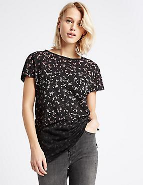 Modal Blend Ditsy Print T-Shirt, BLACK MIX, catlanding