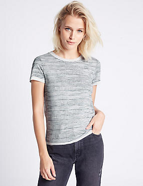 Striped Short Sleeve Jersey Top, GREY MIX, catlanding