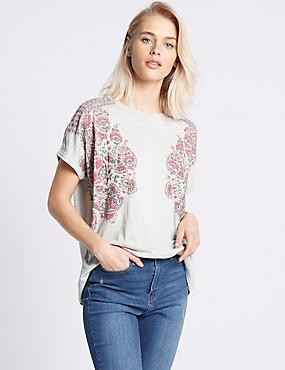T-shirt en coton mélangé à imprimé fleuri en relief, GRIS ASSORTI, catlanding