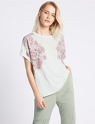 Cotton Blend Puff Floral Print T-Shirt, WHITE MIX, catlanding