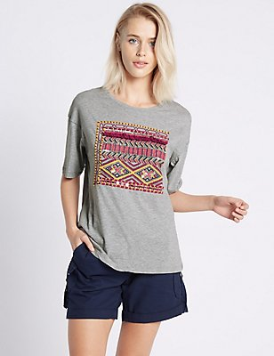 Pure Cotton Tassel Embroidered T-Shirt, GREY MARL, catlanding