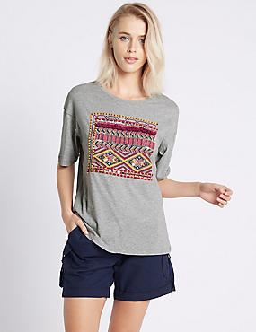 T-Shirt aus reiner Baumwolle mit Quastendetail und Stickerei, GRAU MELIERT, catlanding