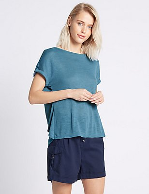 Printed Split Back Short Sleeve T-Shirt, BLUE MIX, catlanding