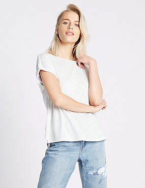 Split Back Round Neck Short Sleeve T-Shirt, IVORY MIX, catlanding
