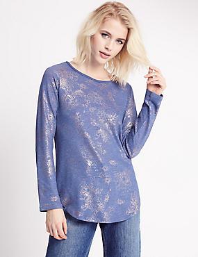 Floral Print Long Sleeve Jersey Top, BLUE MARL, catlanding