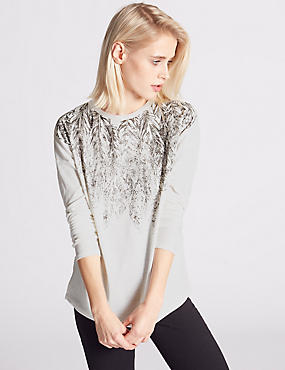 Long Sleeve Printed Jersey Top, IVORY MIX, catlanding