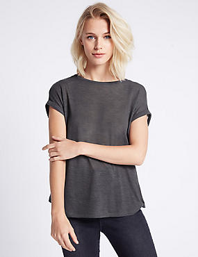 Back Panel Detail Short Sleeve Jersey Top, CHARCOAL, catlanding