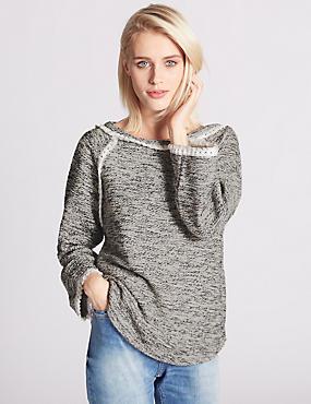 3/4 Sleeve Textured Tassel Sweatshirt, IVORY MIX, catlanding